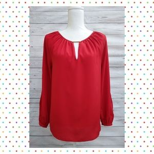💰XS MICHAEL-Michael Kors Red Long Sleeve Blouse